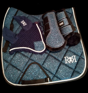 DRESSAGE Saddle Pad Set with Brushing Boots BLUE GLITTER