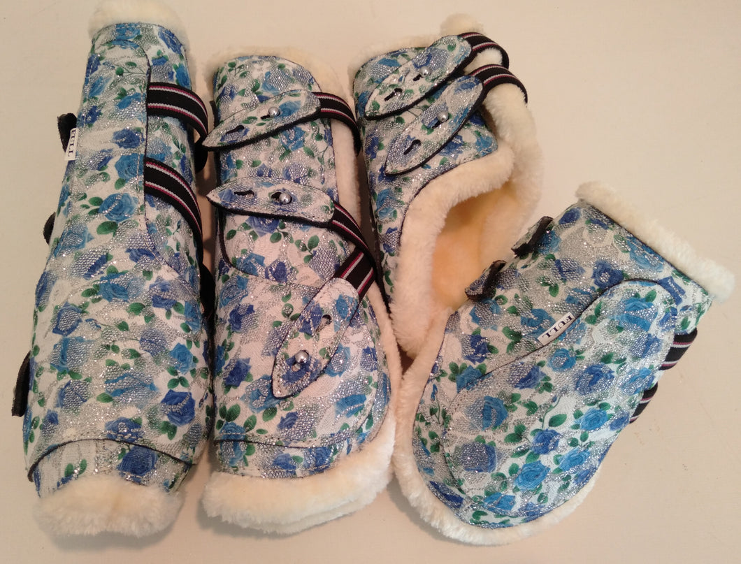 Open Front Boots + Matching Back Boots Blue Floral Glitter