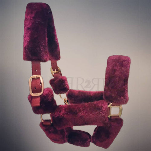 CLEARANCE PRICE! R2R Fluffy Halter Rose Gold Fittings BURGUNDY