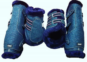CLEARANCE PRICE! Open Front Boots + Matching Back Boots BLUE GLITTER
