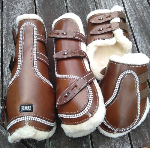 Open Front Boots + Matching Back Boots BROWN LEATHER CRYSTAL