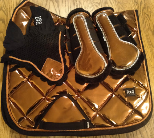 DRESSAGE Saddle Pad Set with Brushing Boots COPPER
