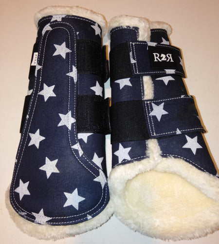 Brushing Boots NAVY STARS White Fleece