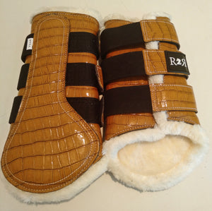 CLEARANCE SALE! Brushing Boots TAN CROC