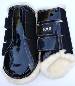 CLEARANCE SALE! Brushing Boots BLACK White Fleece