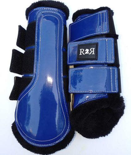 Brushing Boots ROYAL BLUE Black Fleece