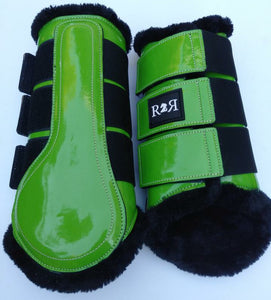 CLEARANCE SALE! Brushing Boots LIME Black Fleece
