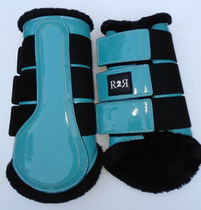 CLEARANCE SALE! Brushing Boots TURQUOISE Black Fleece