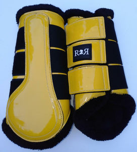 CLEARANCE SALE! Brushing Boots YELLOW Black Fleece