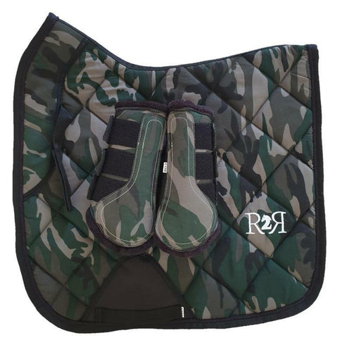 CLEARANCE SALE! Saddle Pad Set with Boots CAMO DRESSAGE pad Full + Brushing Boots Size Cob
