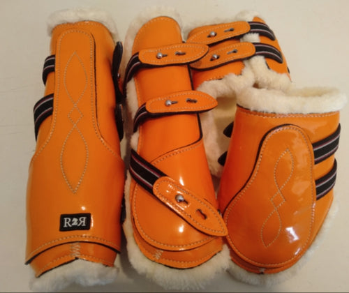 CLEARANCE PRICE! Open Front Boots + Matching Back Boots ORANGE