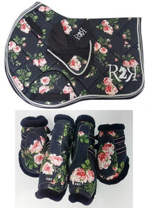 Saddle Pad Set with Jump Boots Set FLORAL