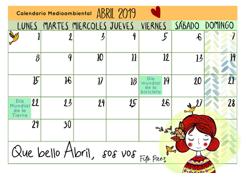 Calendario Medioambiental abril 2019
