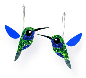 Acrylic Violetear Hummingbird Earrings