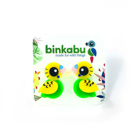 Acrylic Green Budgie Stud Earrings