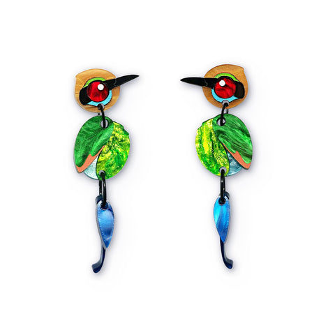 Rainbow bee-eater acrylic earrings