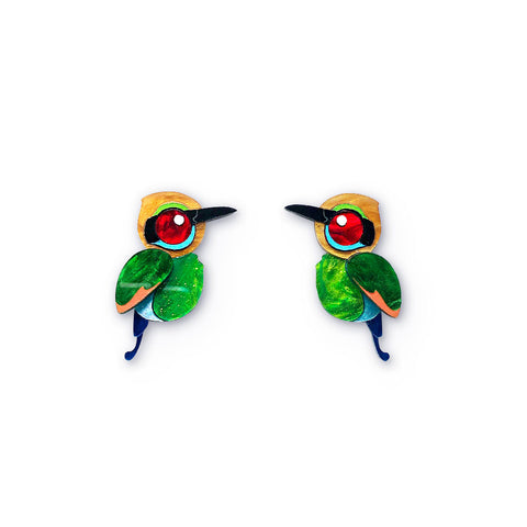 Acrylic Rainbow Bee-Eater Stud Earrings