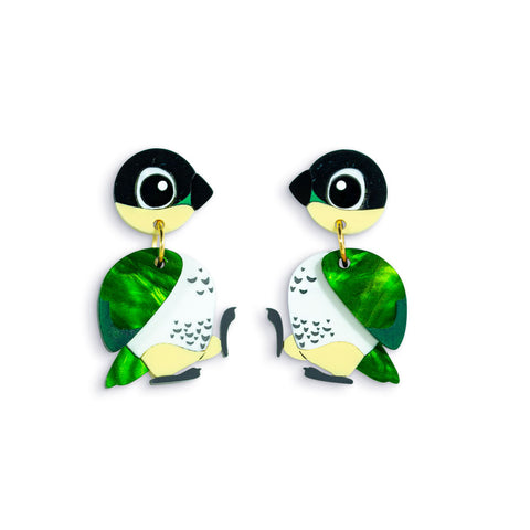 Black-Headed Caique Acrylic Dangle Earrings