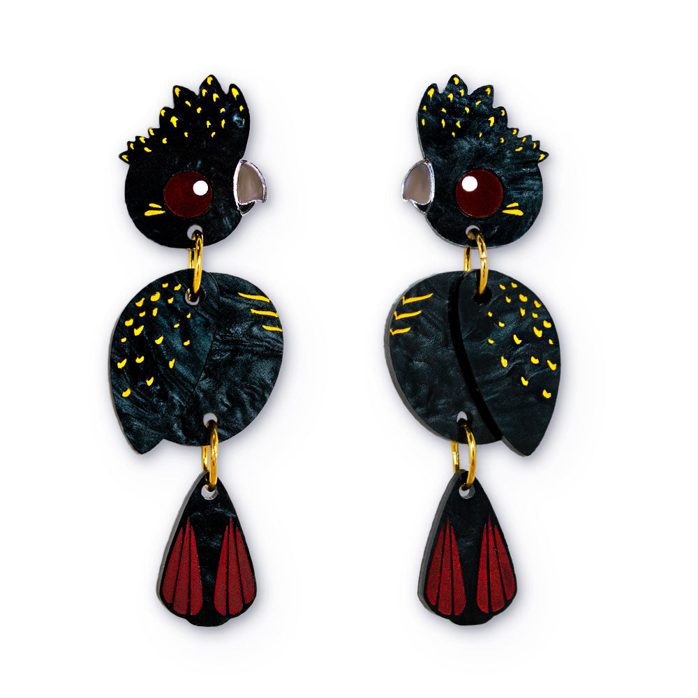 Acrylic black cockatoo 2.0 dangle earrings handmade Australiana