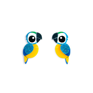 Blue and Gold Macaw Stud Earrings