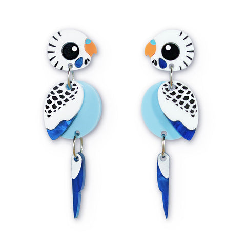 Blue budgie acrylic earrings