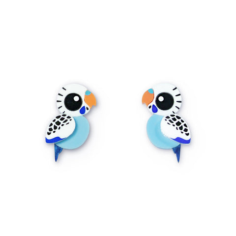 Blue budgie acrylic stud earrings