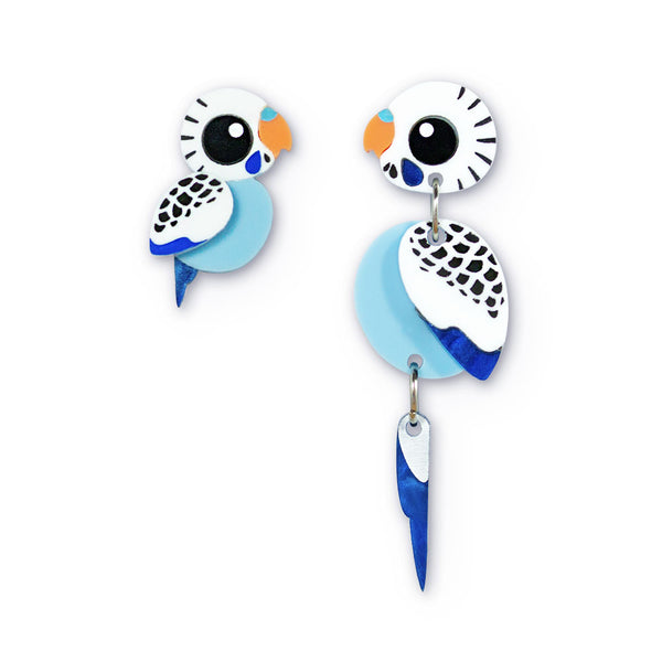 Blue budgie mismatched earrings