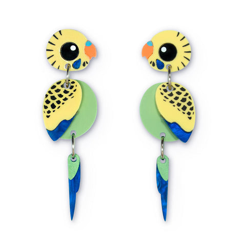 Green budgie acrylic earrings