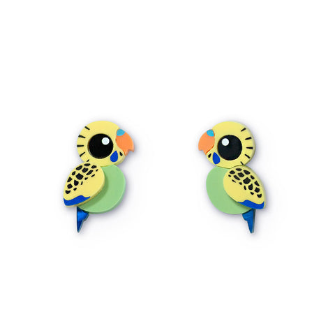 Green budgie acrylic stud earrings