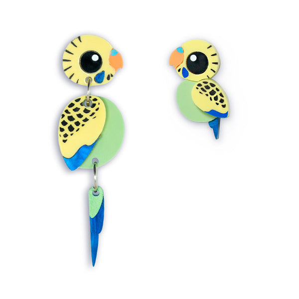 green budgie mismatched earrings
