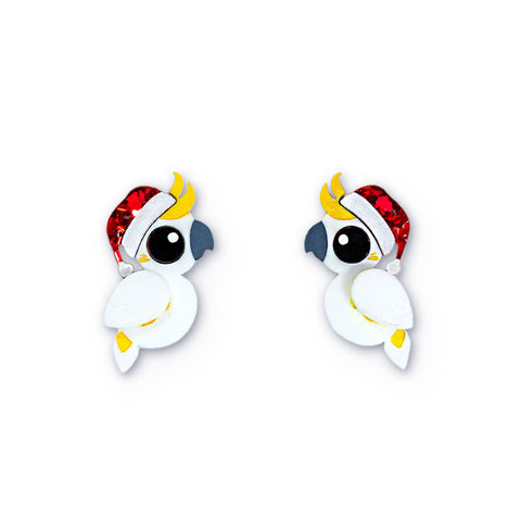 Acrylic Christmas earrings Cockatoo studs