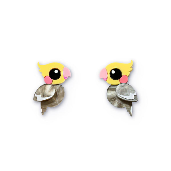 Acrylic Cockatiel 2.0 Studs - Statement Bird Earrings