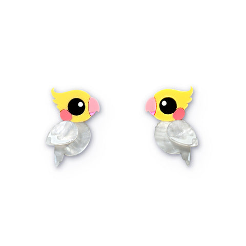 Acrylic lutino cockatiel stud earrings handmade Australiana