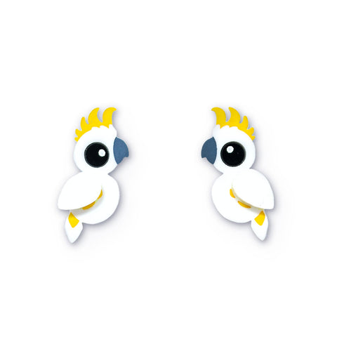 Acrylic Sulfur-Crested Cockatoo Stud Earrings handmade