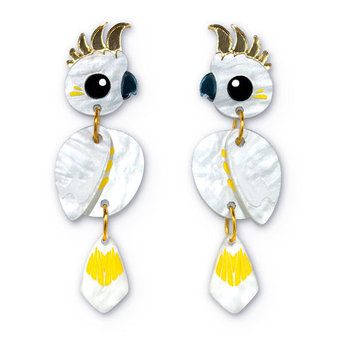 Acrylic sulfur-crested cockatoo dangle earrings handmade