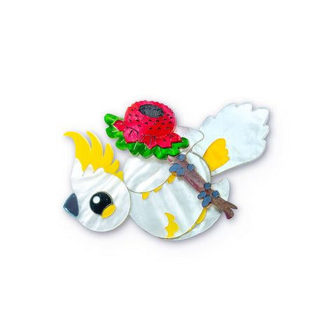 Acrylic Mini Brooch Cockatoo