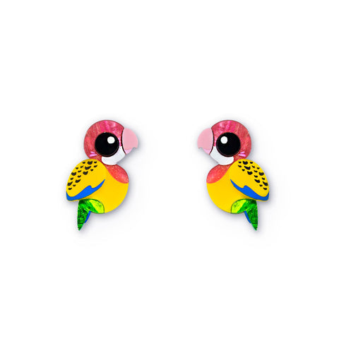 Acrylic Eastern Rosella Earrings handmade Australiana