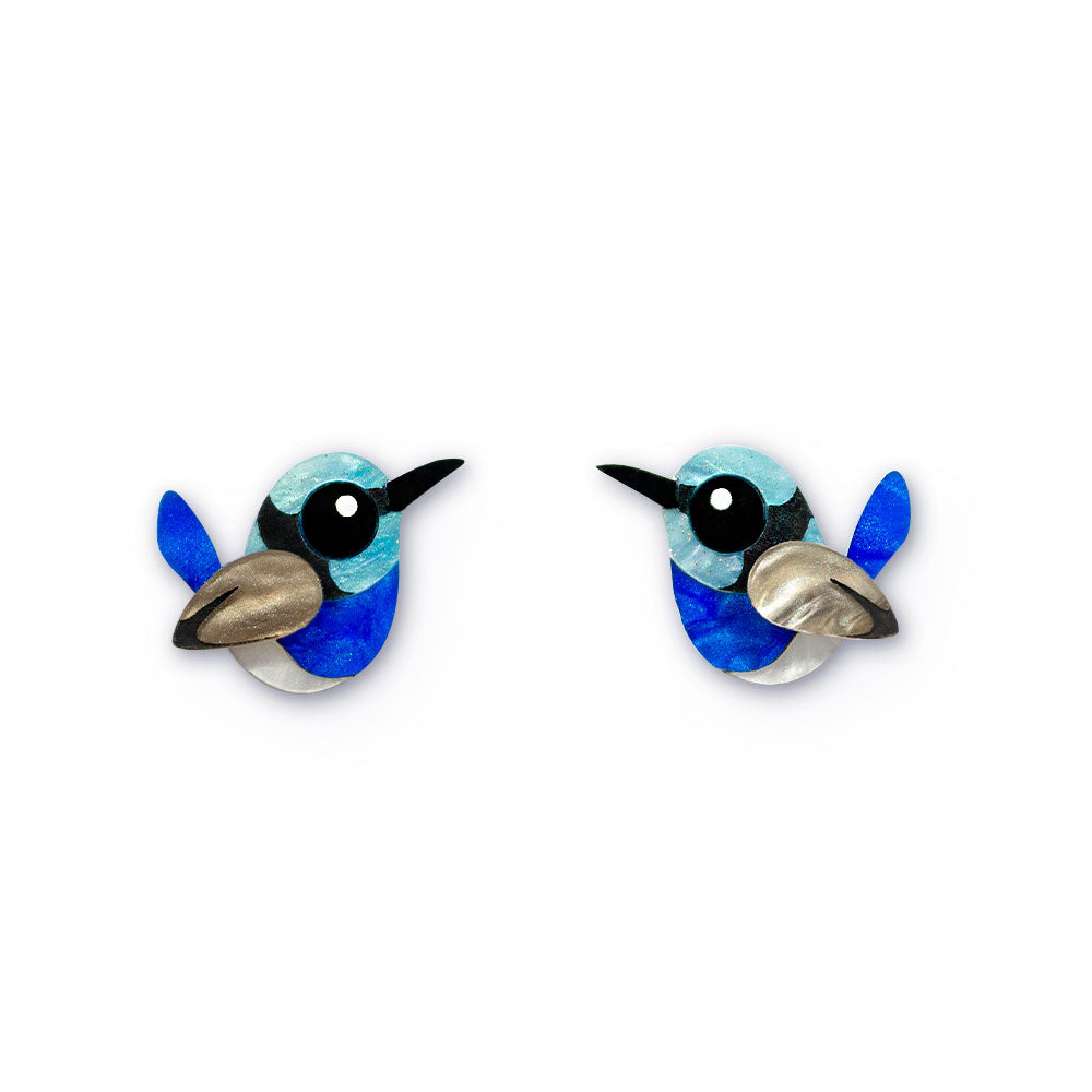 Acrylic Superb Fairy Wren Stud Earrings