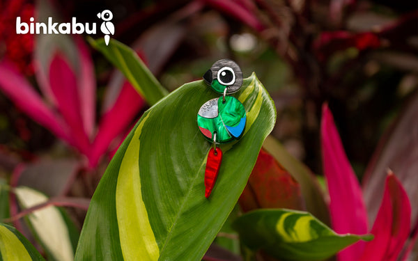 Acrylic Green Cheek Conure Earrings