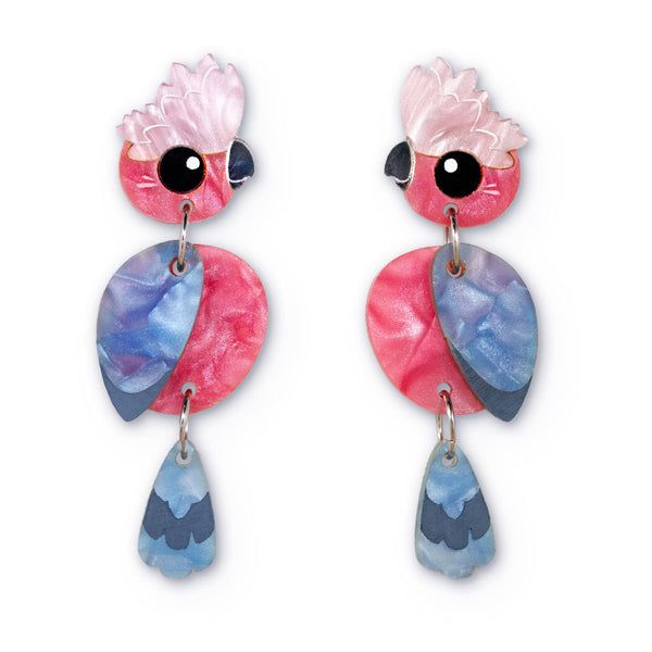 Acrylic Galah earrings handmade Australiana