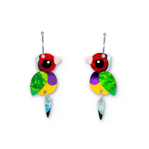 Acrylic Gouldian Finch Earrings