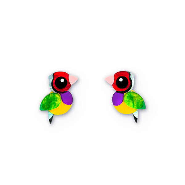Acrylic Gouldian Finch Stud Earrings