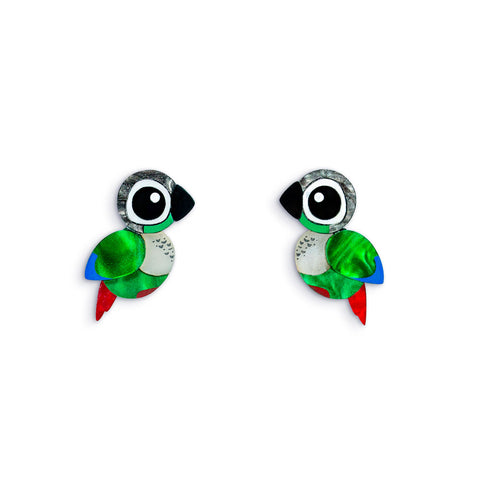 Green Cheek Conure Acrylic Earrings Green Parrot Earrings