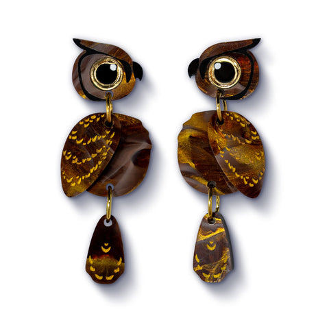 Acrylic Great Horned Owl Earrings