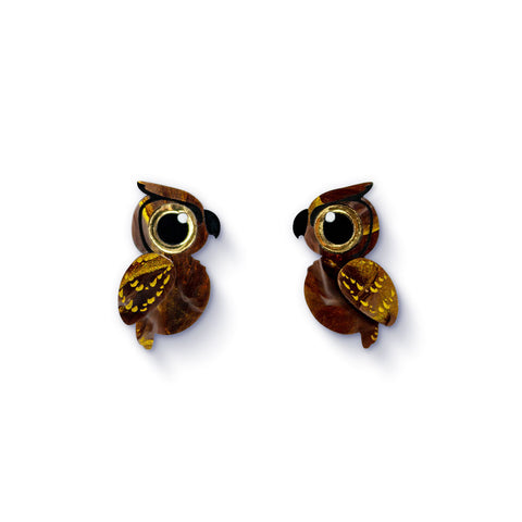 Acrylic Great Horned Owl Stud Earrings