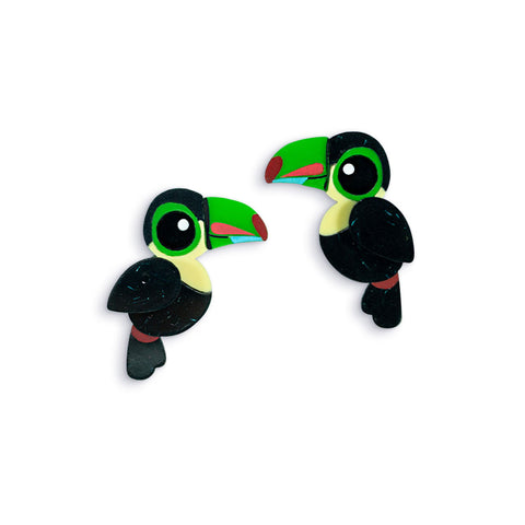 Acrylic Keel-Billed Toucan Stud Earrings