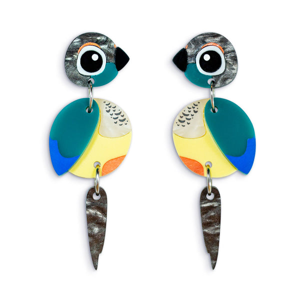 Turquoise Conure Earrings Acrylic Parrots