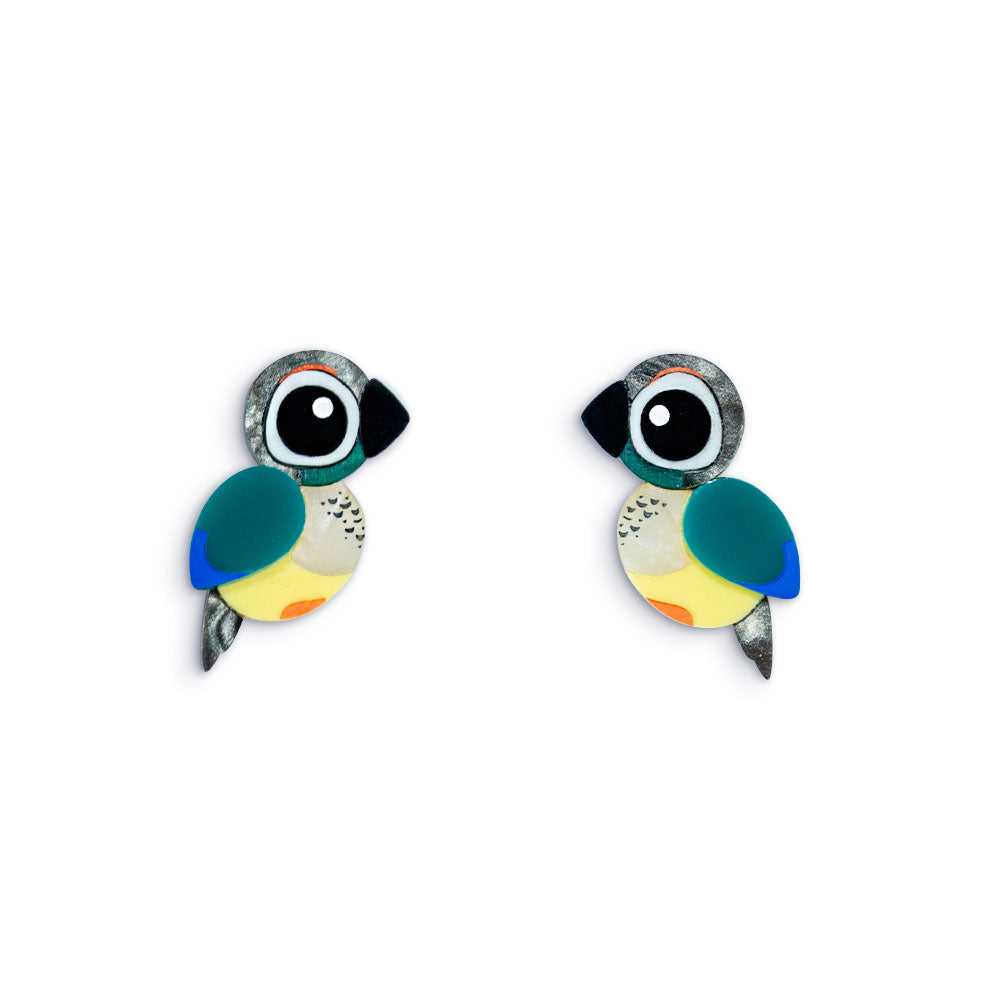 Acrylic Turquoise Conure Earrings Handmade Parrot Earrings
