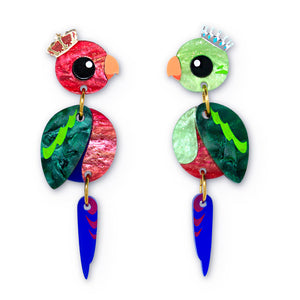 King Parrot acrylic statement earrings