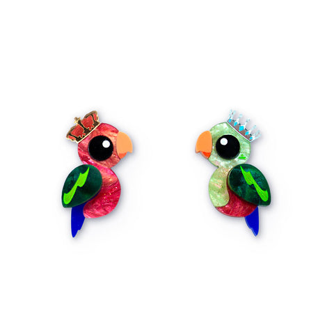 King Parrot acrylic statement stud earrings